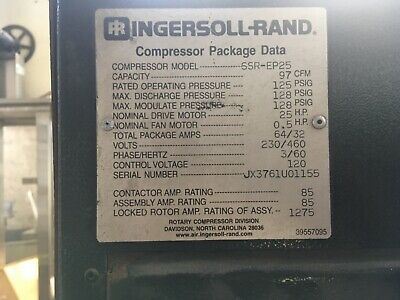 Ingersoll-rand Model Ssr-ep25 Rotary Screw Compressor