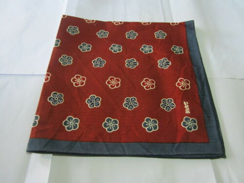 """Japanese Furoshiki Cloth Wrapping Scarf Tapestry 19""""Cotton Flower Brown Pattern"""