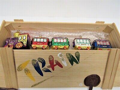 Kurt Adler Polonaise Collection 5 Piece Train Ornament Set With Wooden Box