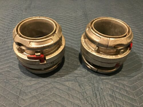 """(2) 5"""" Angus Style / Storz Fire Hose Coupling Sets (4 individual couplings)"""