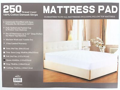 Newpoint Home Deluxe 250-Thread-Count Cotton Damask Stripe Queen Mattress Pad ()