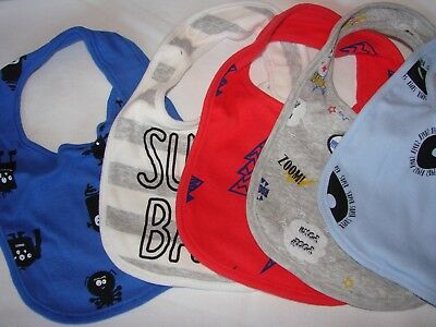 NEW Rosie Pope Baby 5 Pack Bibs Super Baby Spiders Halloween Lightning Blue Red