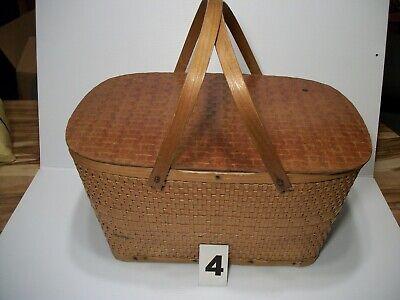 Large Wicker Basket W/handles Wood Lid - Picnic Craft Garden #4