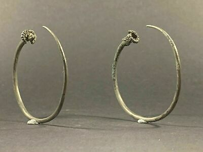 VERY RARE ANCIENT VIKING NORSE SCANDINAVIAN SILVER EARRING PAIR CIRCA 800-900 AD