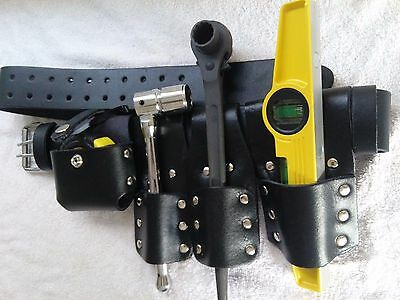 Scaffolding Leather Belt Set With Full Tools - Heavy Duty Black Spanner 1921