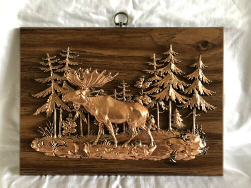 Copper tone moose in the woods three dimensional plaque from Copper Harbor MI