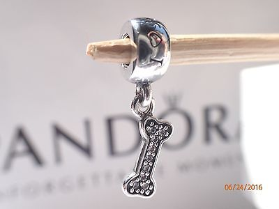 Authentic Pandora Bone Charm I Love My Dog Dangle   791263Cz