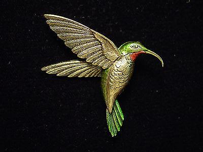 Jj  Jonette Jewelry Antique Gold Pewter Beautiful Hummingbird Pin