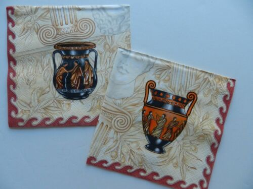 2 (Two) Single Lunch Size Paper Napkins for Decoupage Craft Roman Vase