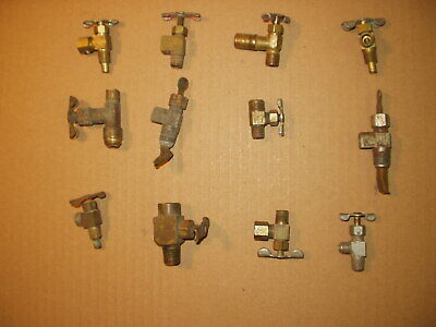 12 Vintage Brass Petcock Valves For Hit Miss Engines
