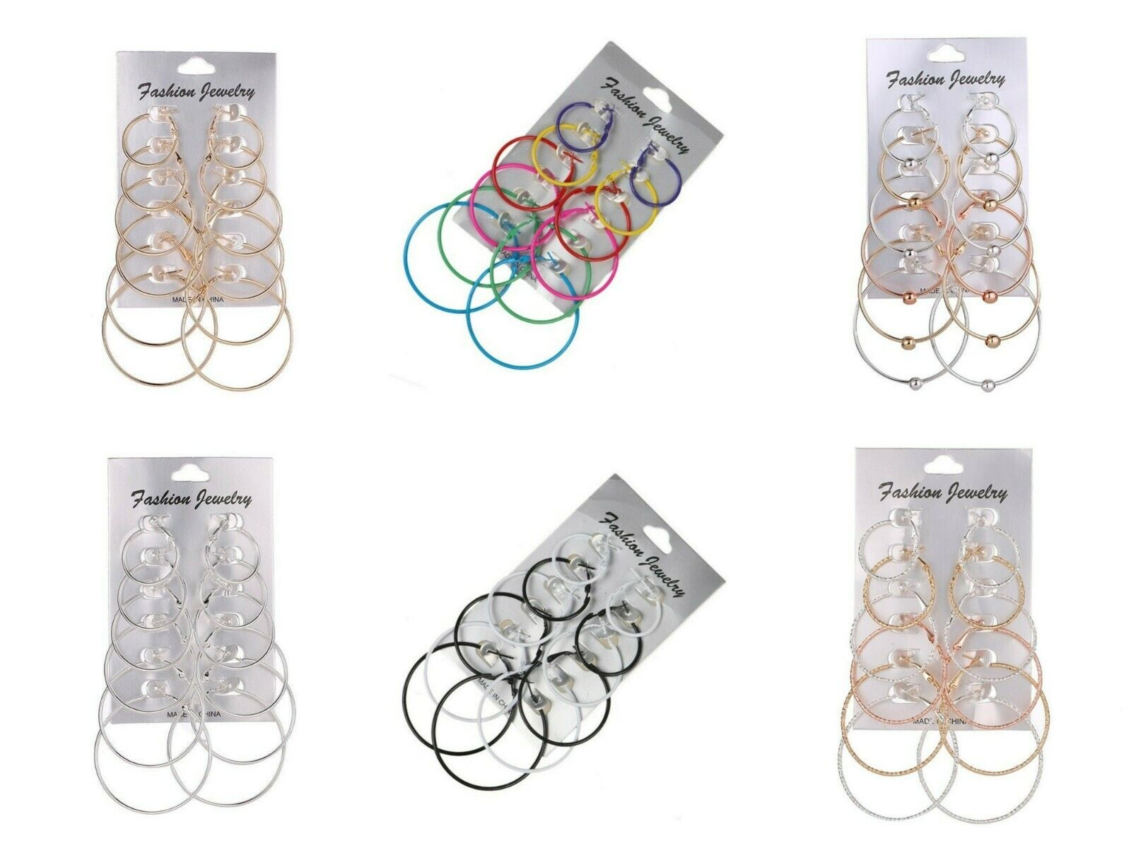 Jewellery - 6 Pairs Fashion Silver Rose Gold Round Hoop Earrings Set Pack Jewellery Gift UK