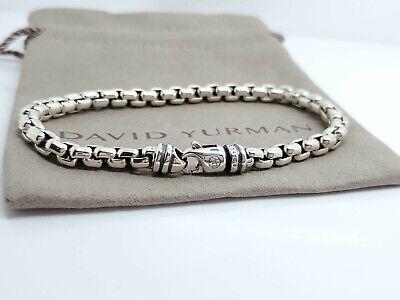 """David Yurman 5mm Sterling Silver Box Chain Men's Lobster Lock Bracelet 8"""""""