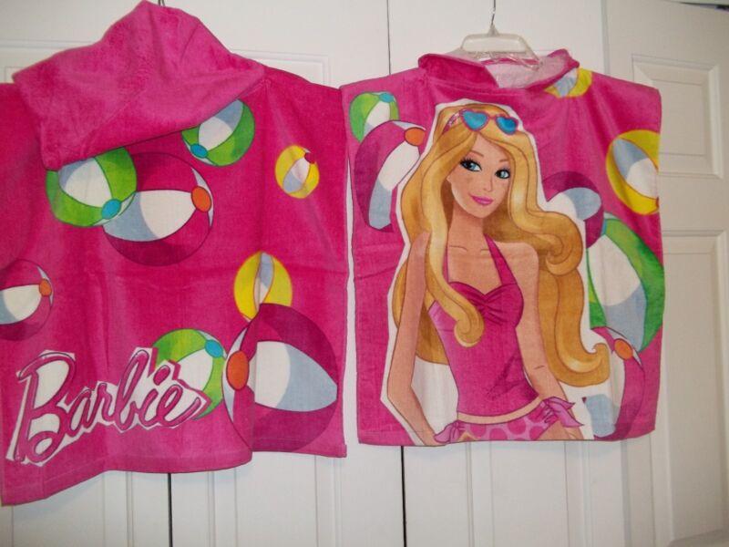 2 New Barbie Hooded Terry Velour Beach Bath Swimming Pool Towel Poncho Bathrobe