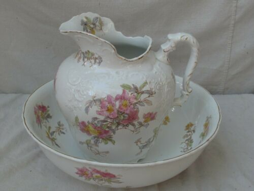 Antique  Pitcher & Bowl Set by Bishop & Stonier Pink Flowers on White Porcelain