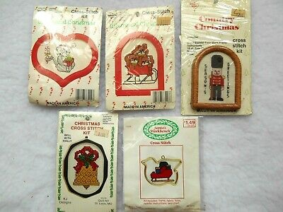 Lot Vintage Christmas Ornament Cross Stitch Kits, Whimsical Country, What's New  ()