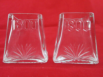 Set of 2 Jose Cuervo 1800 TEQUILA PYRAMID CLEAR SHOT GLASSES New