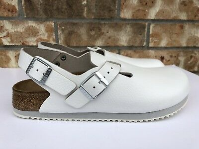 Women's Birkenstock Boston Clog Super Grip Leather White Made In Germany 060131 ()