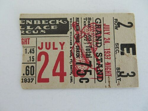 Vintage Hagenbeck Wallace Circus Ticket Stub July 24 1937 Grand Stand #4939