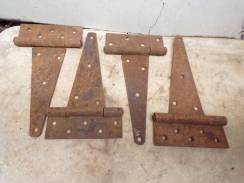 "2 -  Pair Old Original Rusty Barn Door Gate Strap Hinges about 10"" total length"