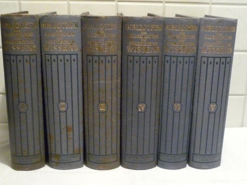 Bibliothek des allgemeinen und praktischen Wissens-Band 1-6 (1912) gut erhalten