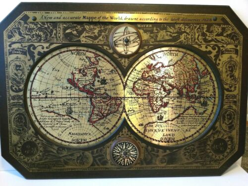 """ANTIQUE OLD WORLD MAP ATLAS from 1628 44"""" X 30"""" 1964 MASKETEERS BRASS & WOOD"""