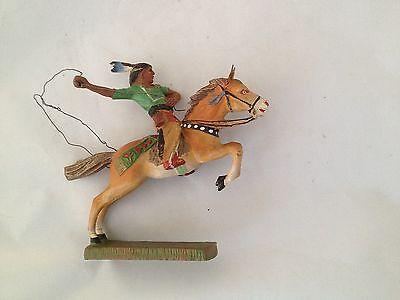 A187/  Hausser Elastolin Indianer zu Pferd Wildwest Figur von ca. 1935/55 /TOP