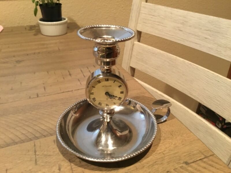 Gorgeous Antique 1960 Le Coultre Swiss Chamber Candlestick Holder With Clock