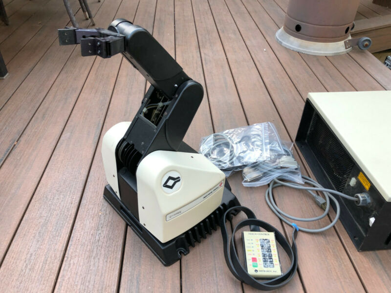 Microbot Alpha II Robot & Controller w/ Teach Pendant (Teachmover, Fisher) Rare!
