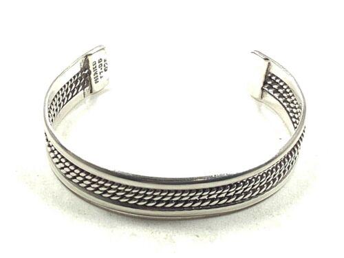 """TAXCO TT-06 925 Sterling Silver Cuff Bracelet w/3-Row Twisted Rope Motif, 5.25"""""""