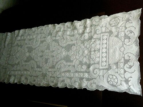 Old Victorian lace Topper linen drawn thread work hand  embroidered lace Italy