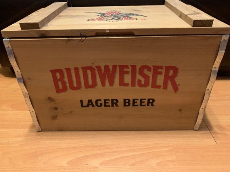 Budweiser Anheuser Busch Wooden Beer Crate Box 1876 COOLER with handles