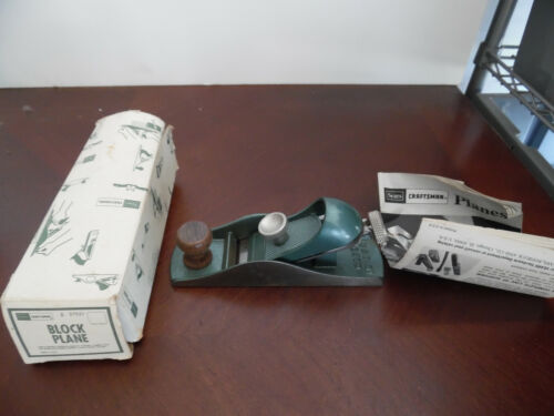 NOS VINTAGE SEARS CRAFTSMAN BLOCK PLANE #37051 WITH BOX AND PAPERWORK