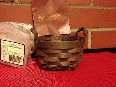 "Longaberger 4"" -Inch Round AMERICAN WORK  ""Booking"" Basket ~DEEP BROWN ~ NEW!"