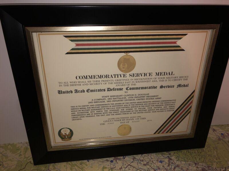 U.A.E. / UNITED ARAB EMIRATES COMMEMORATIVE SERVICE MEDAL CERTIFICATE ~Type 1