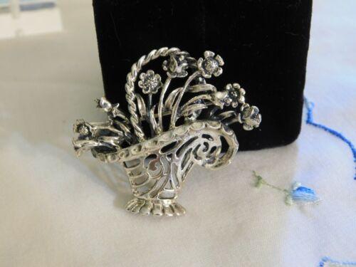 Vintage Sterling Silver Flower Basket Brooch Signed STERLING