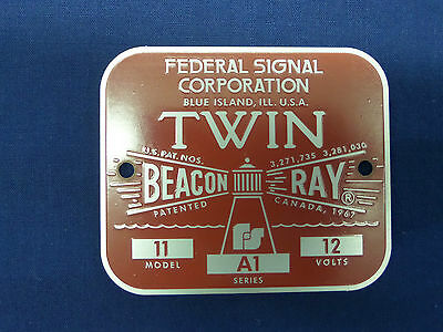 Federal Signal Corporation Model 11 Twin Beacon Ray Replacement Badge