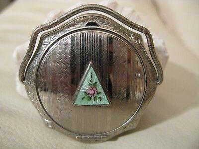 Antique Silver T Green Guilloche Enamel Floral Woopie Handle Purse Compact