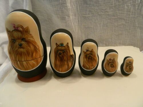 Yorkshire Terrier Yorkie Dog Chinese Nesting Doll
