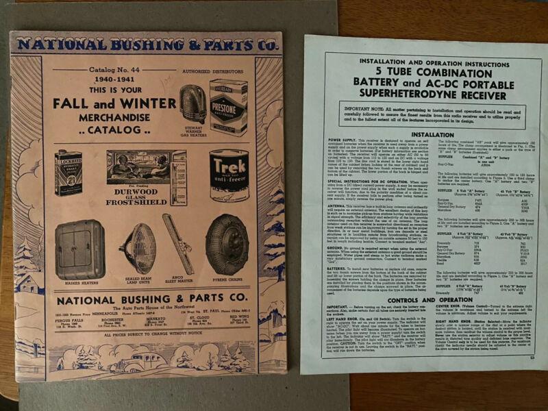 1940-1941 Fall Winter National Bushing & Parts Catalog