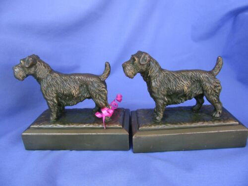 JB BRONZE SEALYHAM CESKY TERRIER BOOKENDS JENNINGS BROTHERS DOGS
