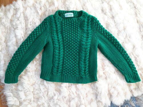 Hand Made ACRYLIC Pullover Fisherman Sweater Irish CABLEKNIT Patricks GREEN