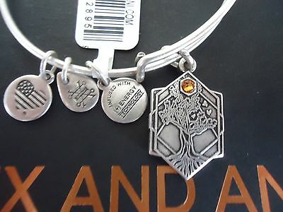 Alex And Ani Tree Of Life Iv Russian Silver Charm Bangle New W  Tag Card   Box
