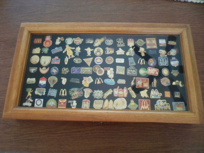 97 McDonalds Lapel Pins from 1980s and 1990s in Wood Frame Box with Glass Cover
