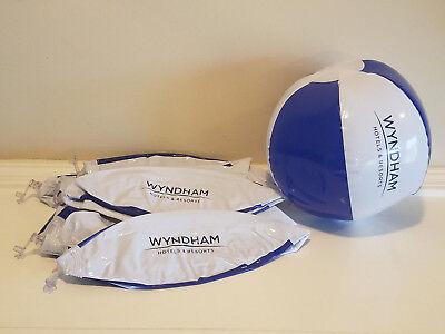 10 count Mini Beach Balls Wyndham * Pool Party Beachball * NEW * Blue/White