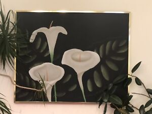 Stunning acrylic painting with brushed brass frame.