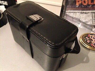VINTAGE CAMERA CASE BLACK LEATHER? OLD STYLE HARD CASE WITH STRAP Cheap