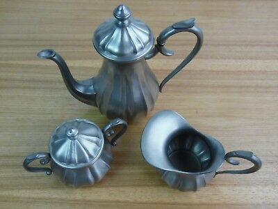 Vintage Pewter teapot EL Pewter Italy  with creamer and sugar bowl 95% clean