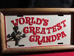 WORLDS GREATEST GRANDPA VINTAGE License Plate Wall Clock Retro Home Decor