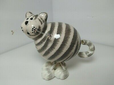 CERAMIC STRIPED GREY AND WHITE CAT MOVEABLE ON SPRINGS WIRED BEADED WHISKERS EUC