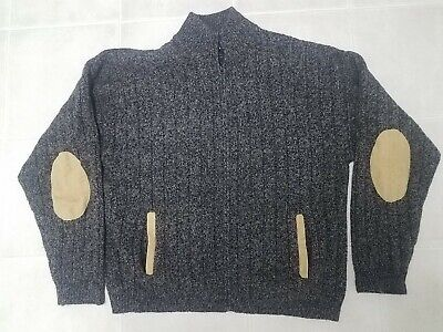 Men's Orvis Wood Full Zip Sweater Elbow Patches XL Suede ? Leather ?